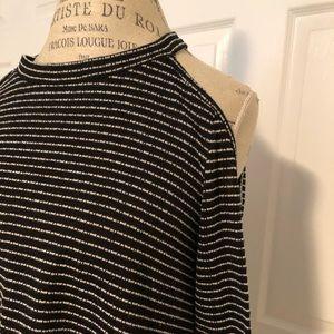 She & Sky black/white stripe cold shoulder blouse